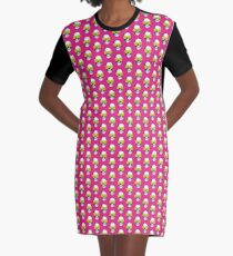 Skull and Roses | Pink and Yellow Graphic T-Shirt Dress