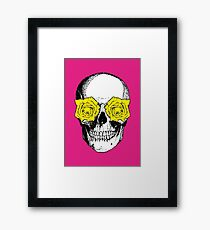 Skull and Roses | Pink and Yellow Framed Print
