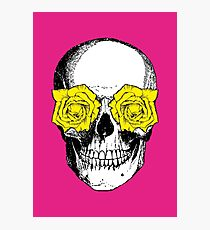 Skull and Roses   Pink and Yellow Photographic Print