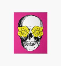 Skull and Roses | Pink and Yellow Art Board