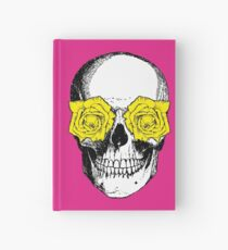 Skull and Roses   Pink and Yellow Hardcover Journal