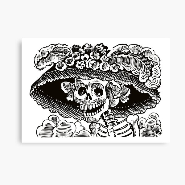 Calavera Catrina | Day of the Dead | Dia de los Muertos | Skulls and Skeletons | Vintage Skeletons | Black and White |  Canvas Print
