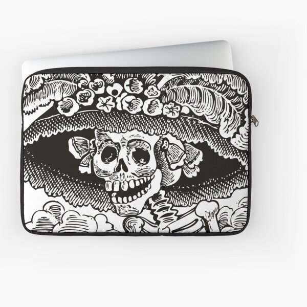 Calavera Catrina | Day of the Dead | Dia de los Muertos | Skulls and Skeletons | Vintage Skeletons | Black and White |  Laptop Sleeve