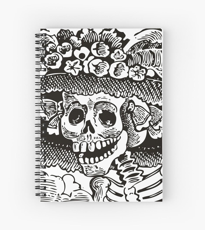 Cuadernos De Espiral Calavera Catrina Blanco Y Negro Día De Los