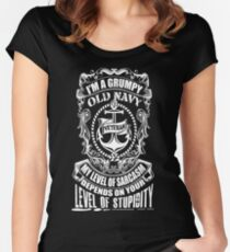 I'm A Grumpy Old Navy Veteran My Level Of Sarcasm Depends On Your Level Of Stupidity  Women's Fitted Scoop T-Shirt