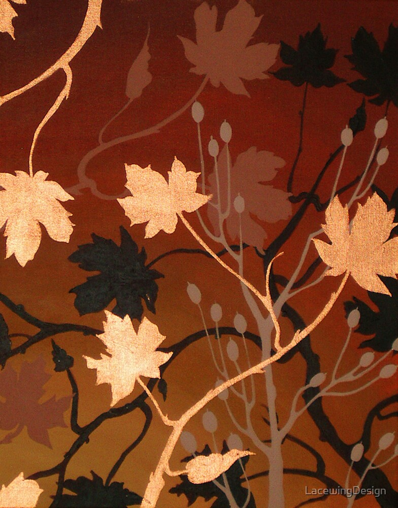 BRONZE MAPLE ~ SILHOUETTE COLLECTION ~ OIL & ENAMEL by LacewingDesign