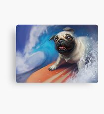 Puppy Pug Surfing Painting Canvas Print