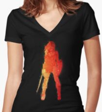 Fire Woman Women's Fitted V-Neck T-Shirt