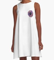 Pink and Purple Dharma Initiative Sign A-Line Dress