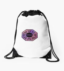 Pink and Purple Dharma Initiative Sign Drawstring Bag