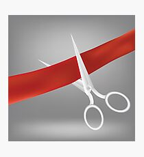 Metal scissors cut textile red ribbon on grey background Photographic Print