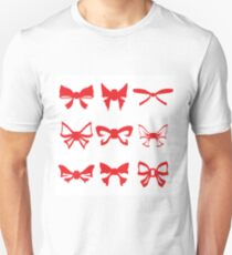 illustration  with red bows set on white background Unisex T-Shirt
