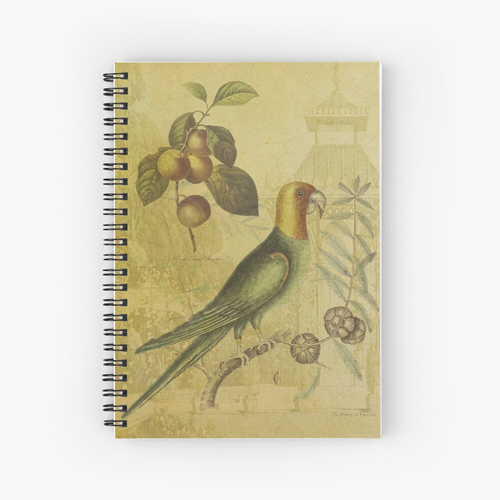 Parrot with Plums Spiral Notebook