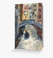Venetian Canal in the Afternoon Watercolour Greeting Card