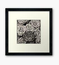 Schwarzweiss-Rosen-Blumenstrauß Gerahmtes Wandbild