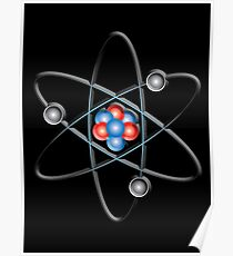 ATOM, ATOMIC, Lithium atom, model, SMALL, Physics, Neutrons, Protons, Electrons, Nuclear, Energy, Fission, Fusion  Poster