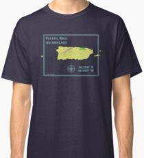 Puerto Rico Islands Archipelago GPS map souvenir shirt Classic T-Shirt