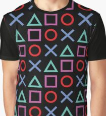 Gamer Pattern Black Graphic T-Shirt