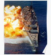 Battleship USS Iowa firing its Mark 7 16-inch/50-caliber guns. Poster