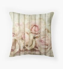 Shabby Chic Country Floral Rose Wood Throw Pillow
