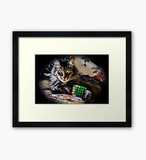 Cat Cube Framed Print
