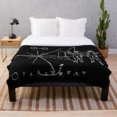 Manta Nasa Pioneer Space Craft Plaque texto en blanco sobre un mensaje alienígena negro