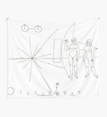 Nasa Pioneer Space Craft Plaque Black text on White Wall Tapestry