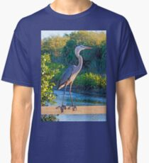 Great Blue On A Fence Classic T-Shirt
