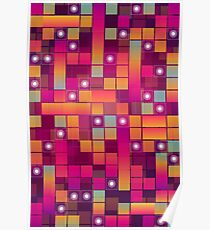 Abstract Colorful Decorative Squares Pattern Poster