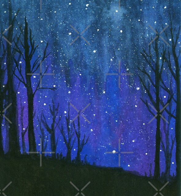 Still of the Night, Night Sky Landscape Painting Stars by ItayaArt