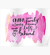 Ohana means family watercolour alternative Poster