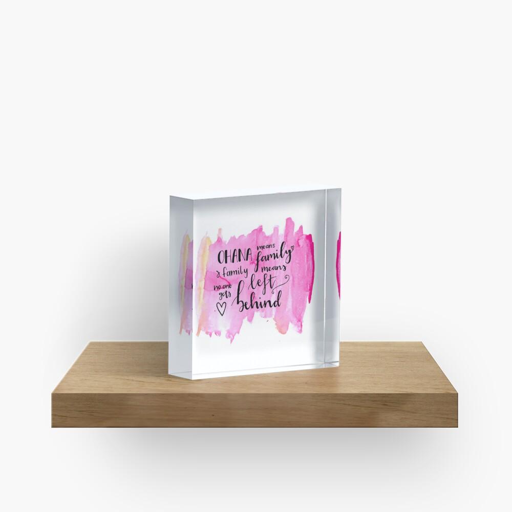 Ohana means family watercolour alternative Acrylic Block