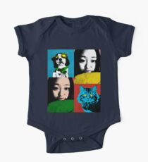 BEAUTIFUL FUNNY ASIAN GIRL, CAT AND DOG POP ART COLOR Kids Clothes