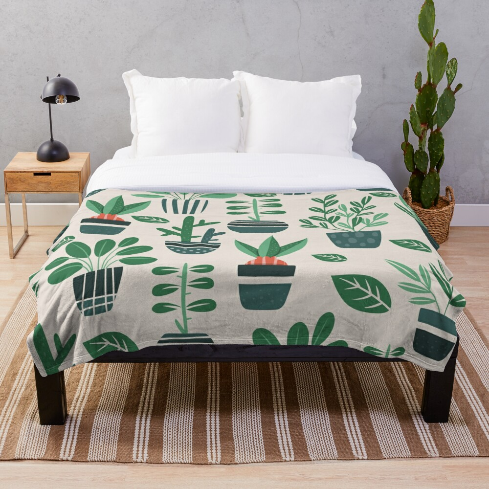 Potted Plants Throw Blanket