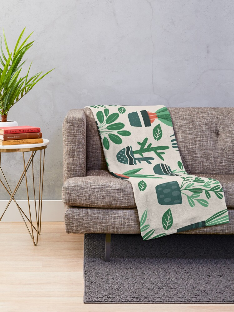 Alternate view of Potted Plants Throw Blanket
