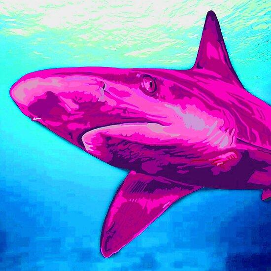 Pink Shark by JenStedmansArt