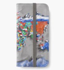 Weltkartenflaggen 3 iPhone Flip-Case/Hülle/Klebefolie