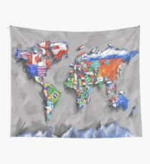 world map flags 3 Wall Tapestry