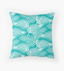 Palm Leaves_Teal Throw Pillow
