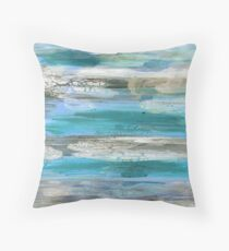 Rock Inspired Art in Blues Throw Pillow