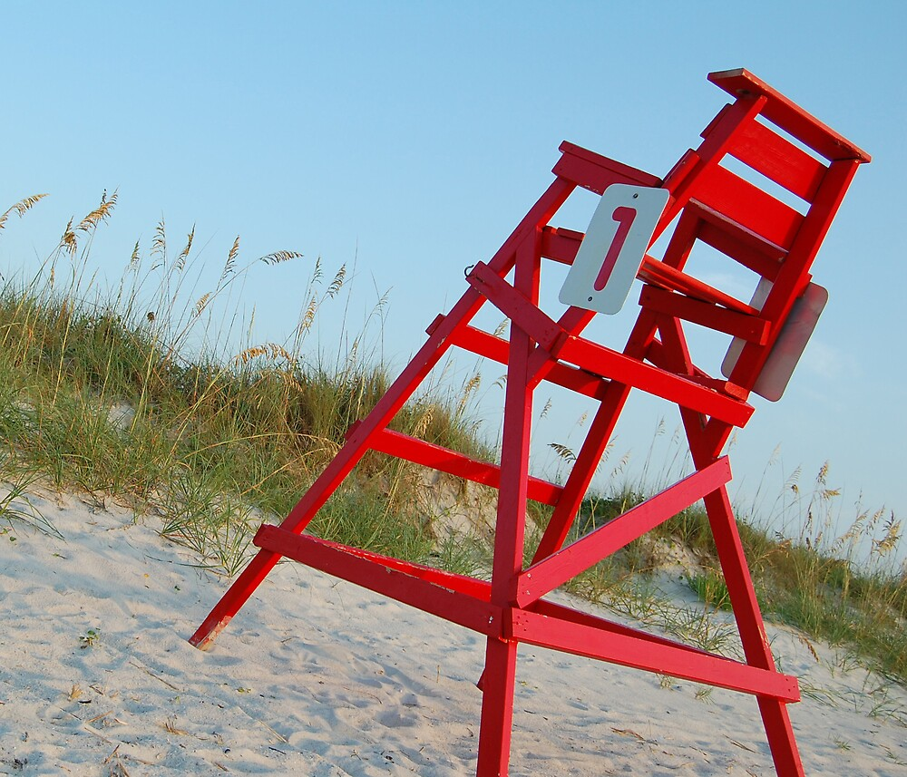 Red Lifeguard Chair by Emilie Pennington