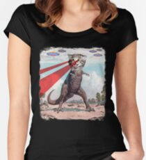 T Rex Cat with Laser Eyes T Shirt | Funny Epic UFO Meme Tee Women's Fitted Scoop T-Shirt