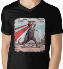 T Rex Cat with Laser Eyes T Shirt | Funny Epic UFO Meme Tee T-Shirt