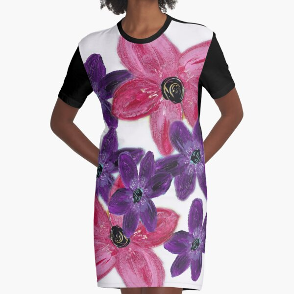 Cluster of Flowers Graphic T-Shirt Dress