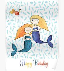 Mermaid Twins - Happy Birthday Poster