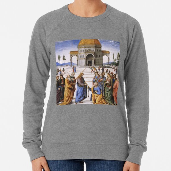 The Delivery of the Keys Painting by Perugino Sistine Chapel Lightweight Sweatshirt