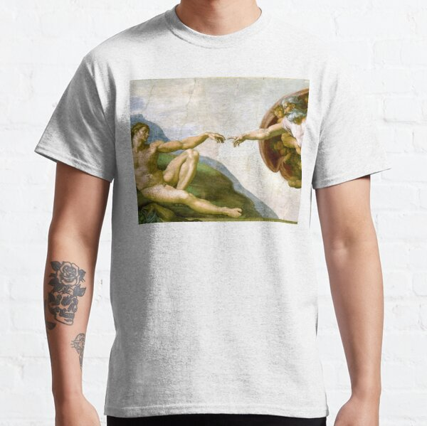 The Creation of Adam Painting by Michelangelo Sistine Chapel Classic T-Shirt