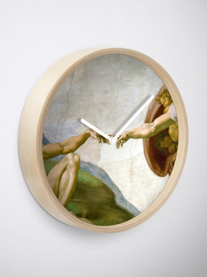 Alternate view of The Creation of Adam Painting by Michelangelo Sistine Chapel Clock