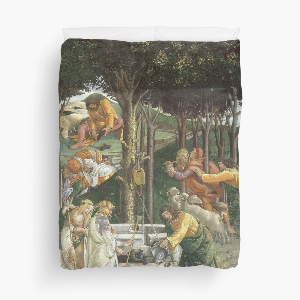 Trials of Moses Painting by Botticelli - Sistine Chapel Duvet Cover