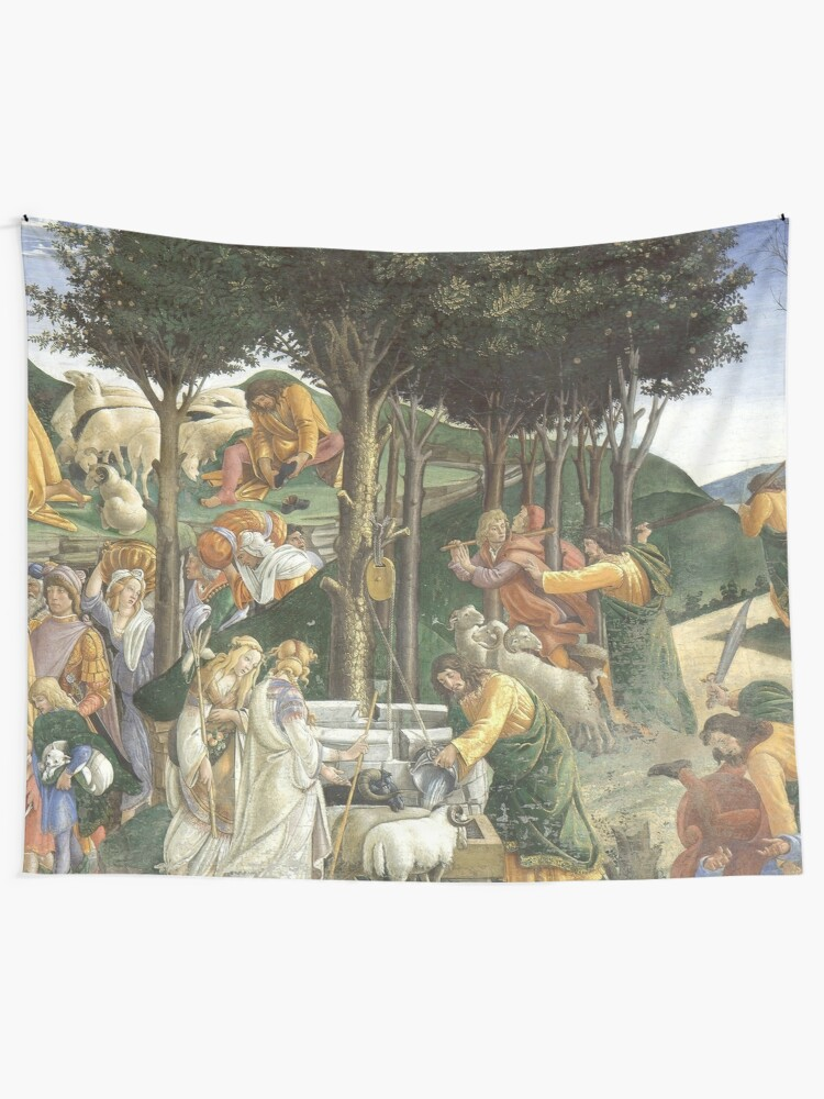 Alternate view of Trials of Moses Painting by Botticelli - Sistine Chapel Tapestry